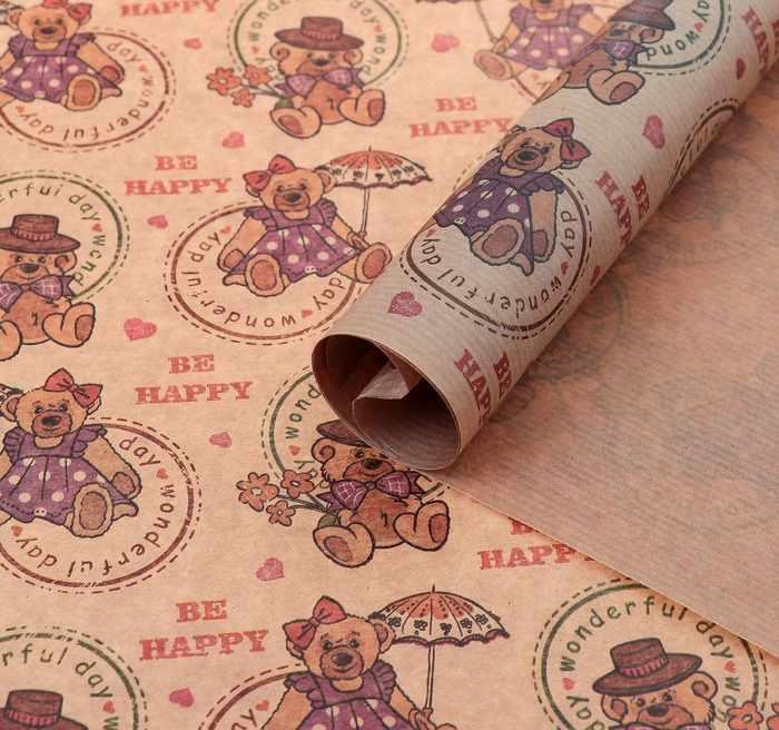 "4154513 Бумага упаковочная крафт ""Мишки"", 0,7 х 1 м"