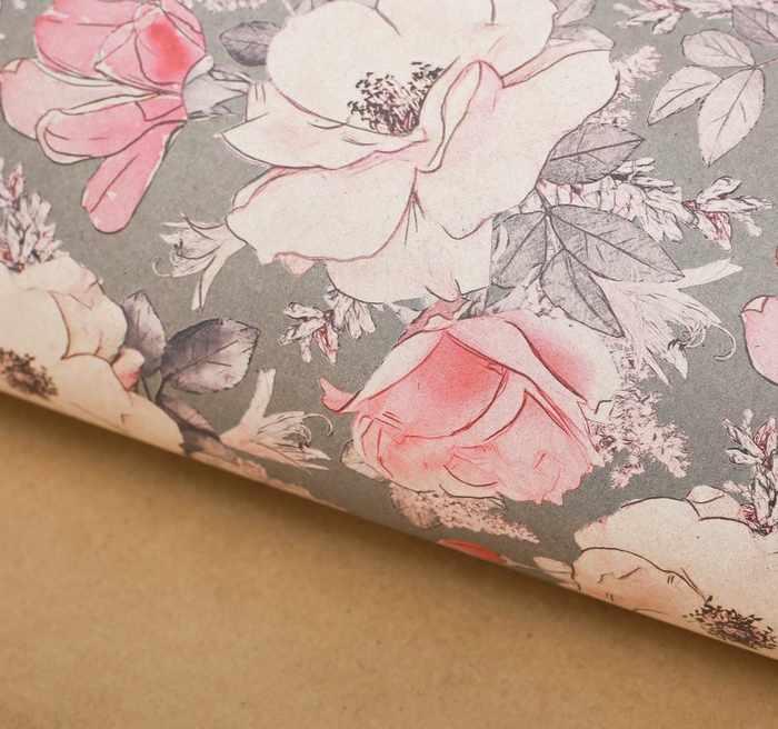 2949882 Бумага упаковочная крафтовая «Цветы на сером», 50 × 70 см