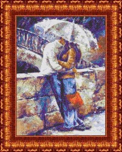 КБЛ(э) 3001 Двое под зонтом - схема для вышивания (Каролинка)