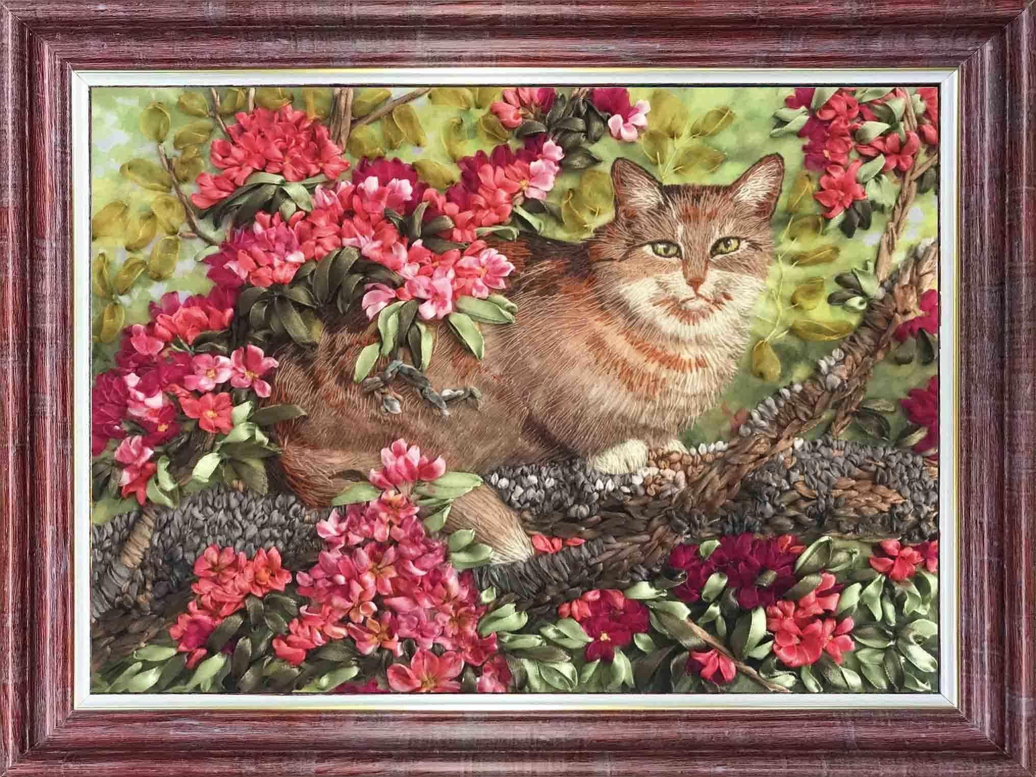 КЛ(н) 3024 Кот в цветах - набор (Каролинка)