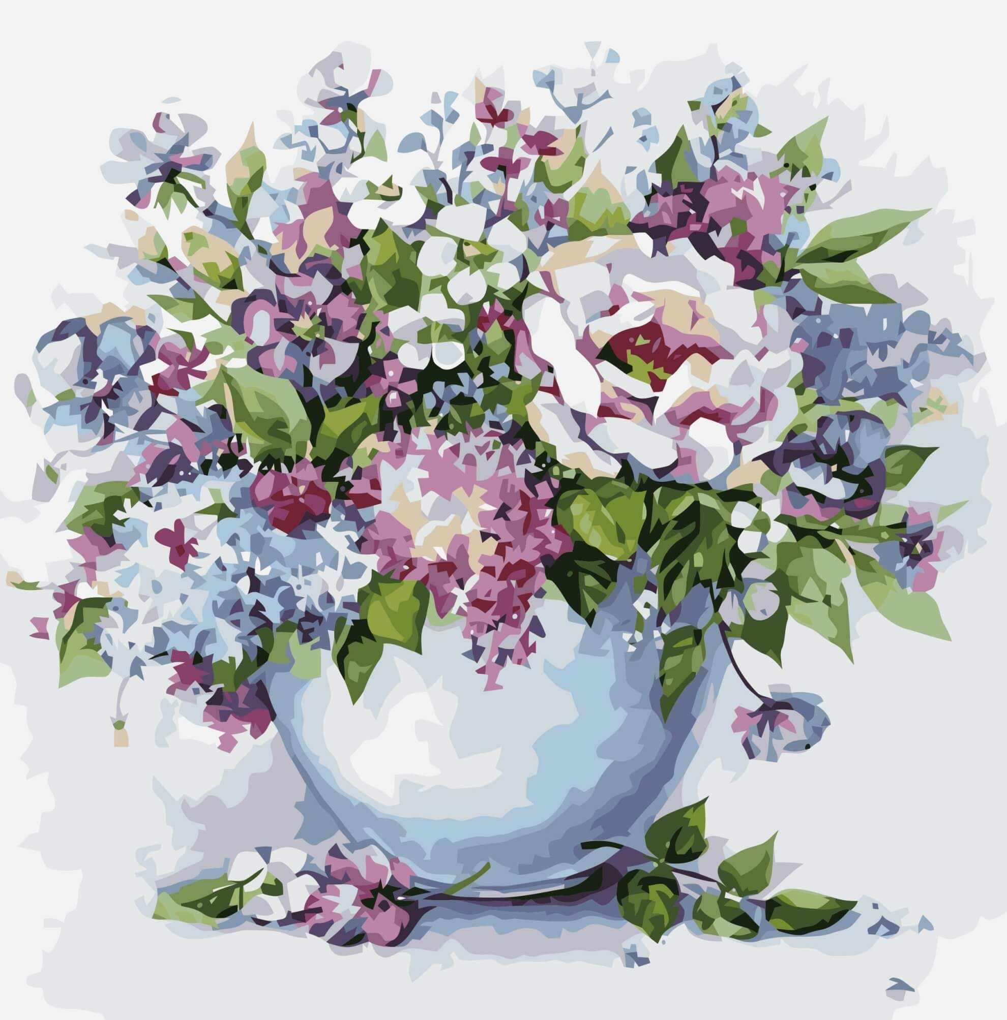 """Mg2102 """"Нежные цветы в белой вазе"""""""