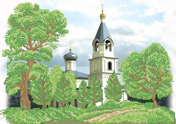 КБ-414 Сельская церковь - схема для вышивания (Наследие)