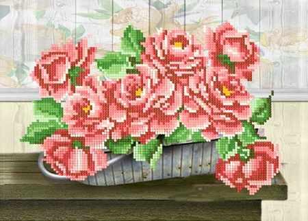 ДА4-092 Розы в корзине - схема для вышивания (Наследие)