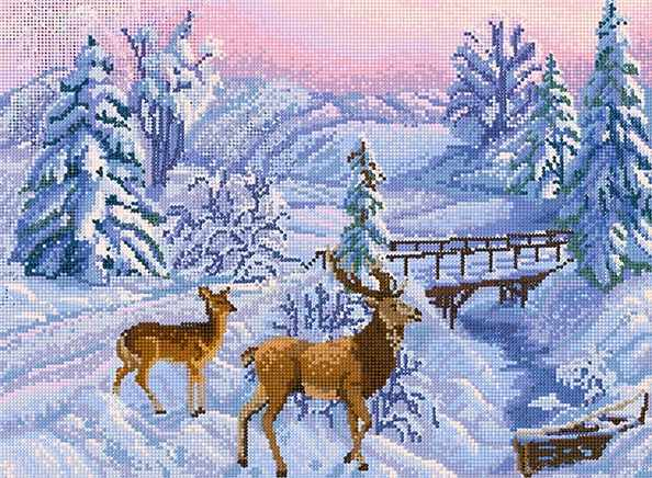 КБ-418 Зимний пейзаж - схема для вышивания (Наследие)