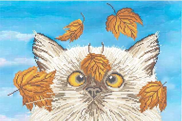 КБ-417 Осенний котик - схема для вышивания (Наследие)