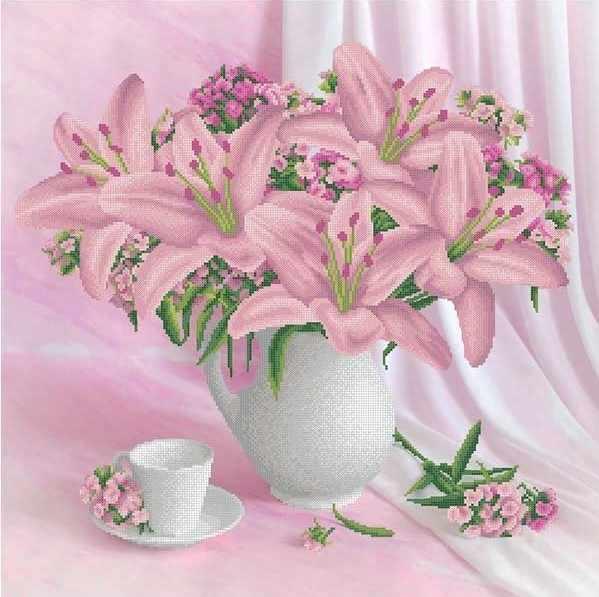 ММН-028 Пудровые лилии - схема для вышивания (MOSMARA)