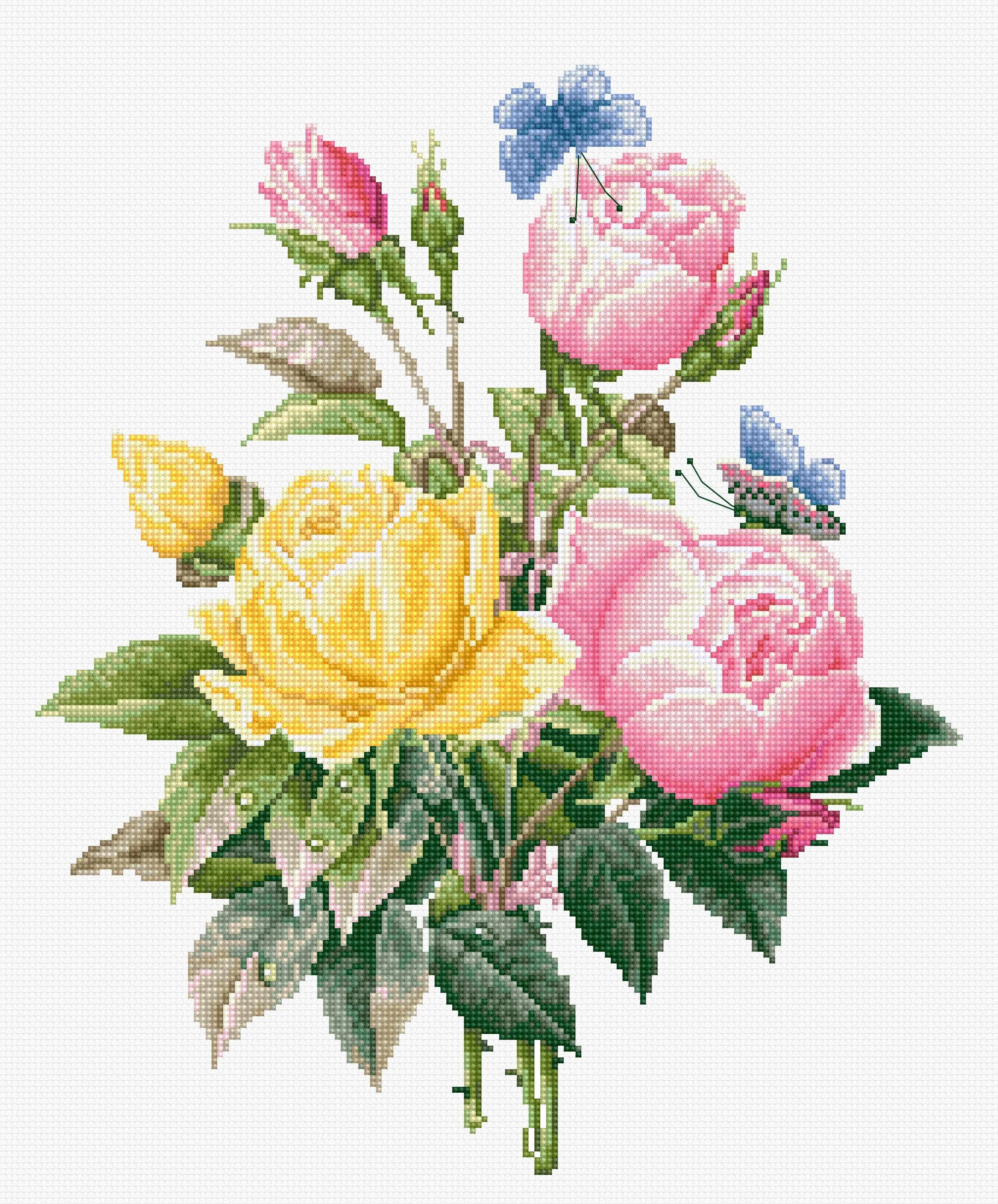 BU4003 Желтые розы и бенгальские розы (Luca-S)