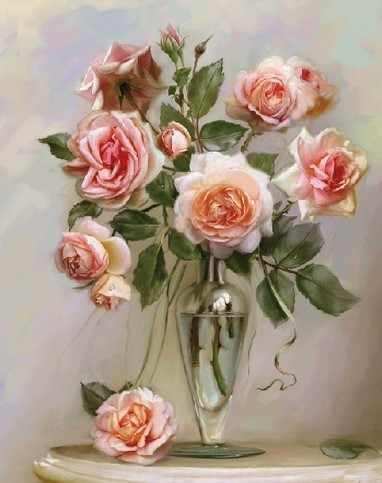 KH0087/1 Бузин. Розы в вазе