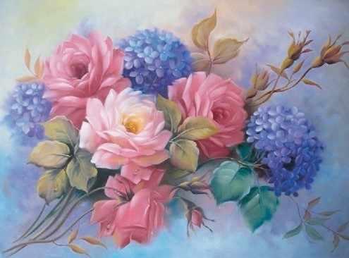 KH0240 Гортензии с розами