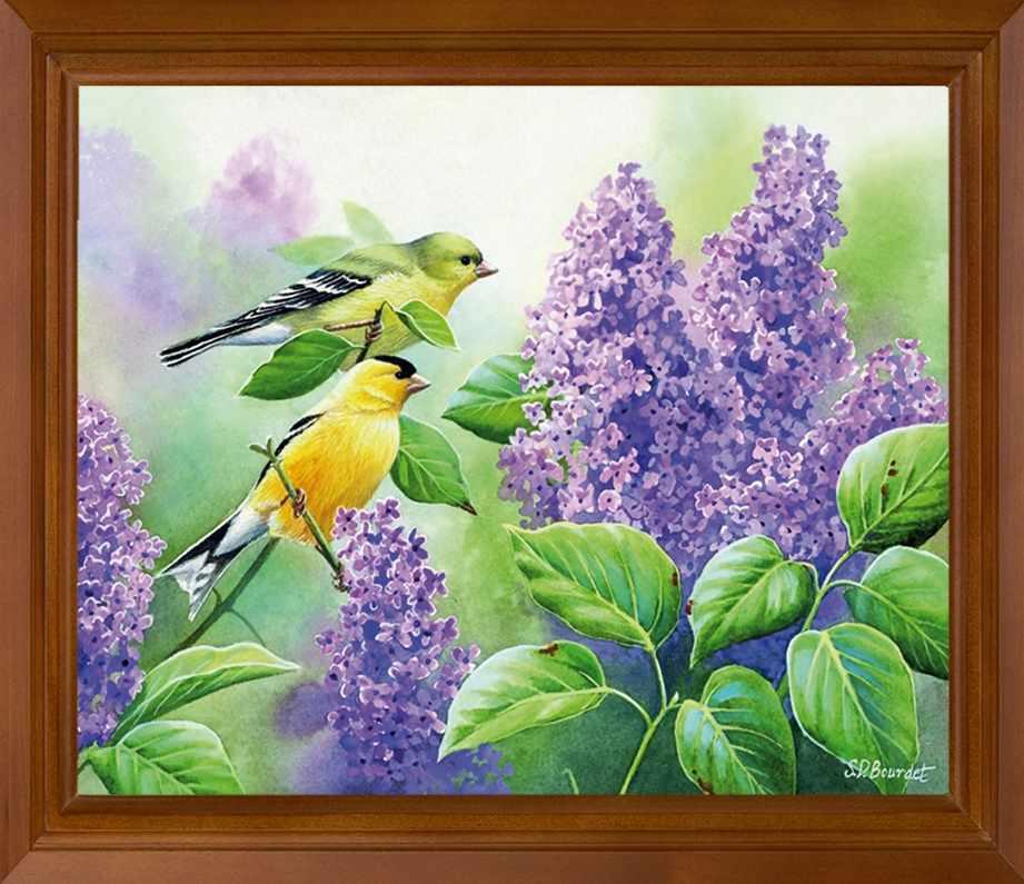 Р617 Птицы в сирени - схема для вышивания (FeDi)