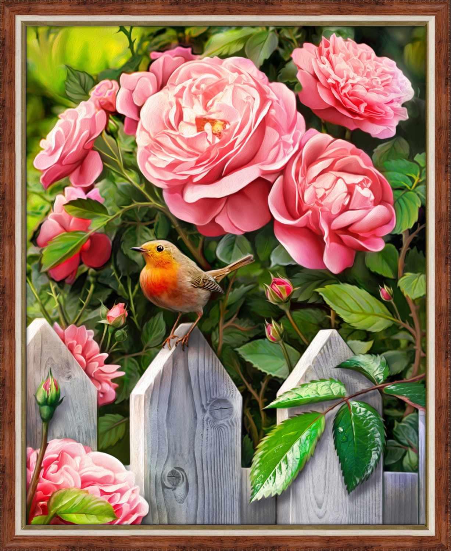 Алмазная вышивка Птичка в саду (АЖ-1743) - картина стразами