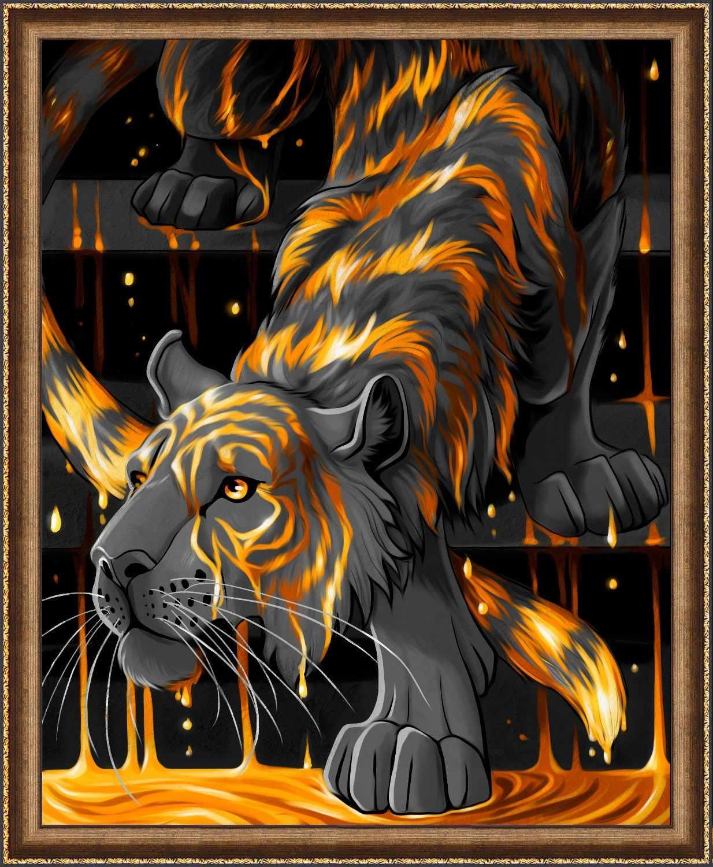 Алмазная вышивка Тигр в золоте (АЖ-1746) - картина стразами