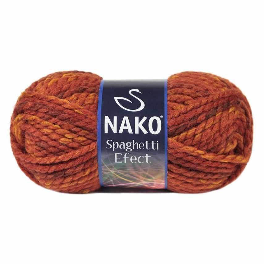 Пряжа Nako Spaghetti Effect Цвет.7793 террак.оранж.мел.