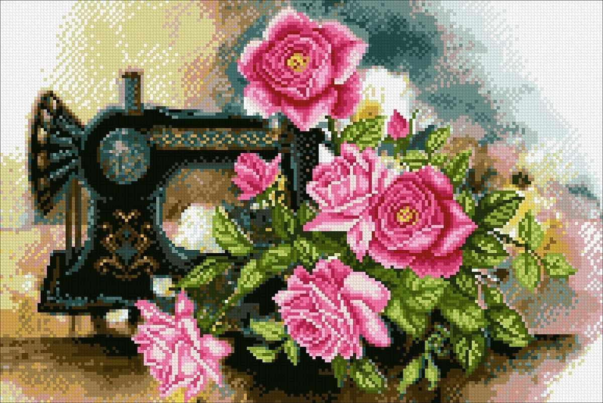 Алмазная вышивка М268 Розовое настроение - мозаика (Паутинка)