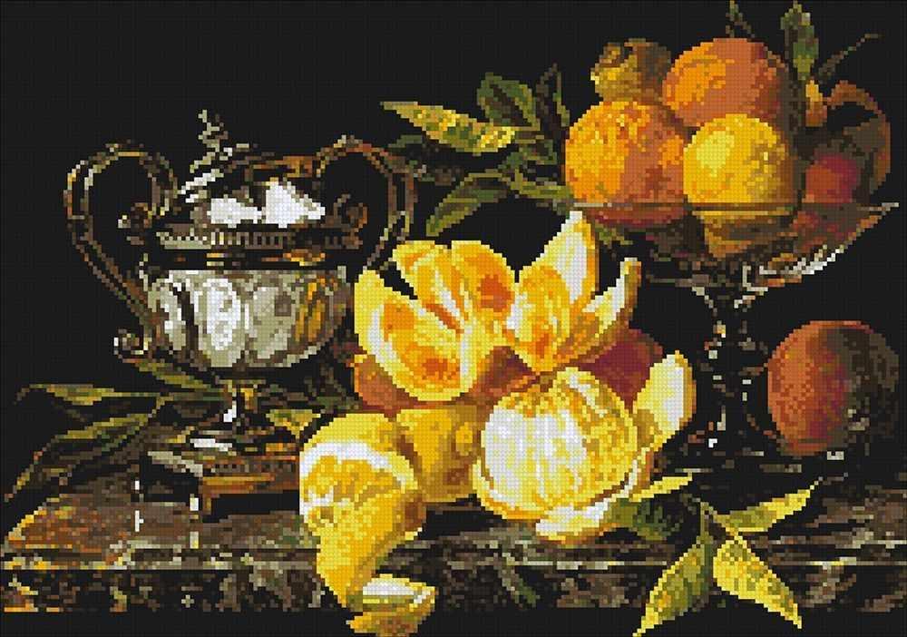 Алмазная вышивка М273 Натюрморт с апельсинами - мозаика (Паутинка)