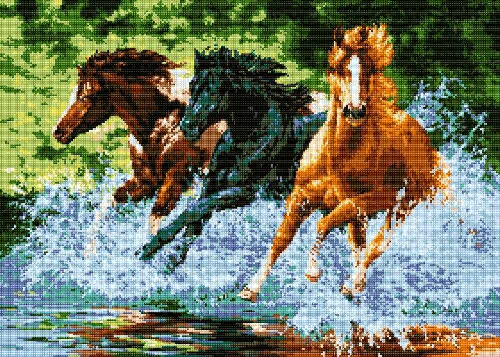 """Алмазная вышивка 0013 """"Бегущие лошади"""""""