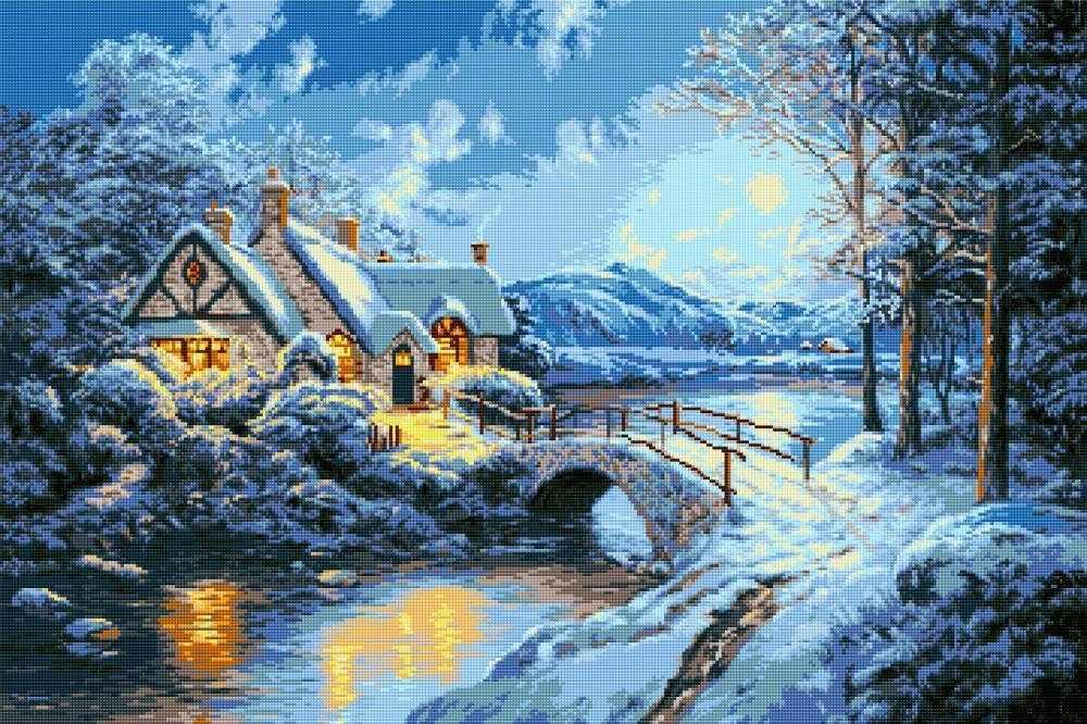 """Алмазная вышивка 0026 """"Зимний пейзаж 2"""""""