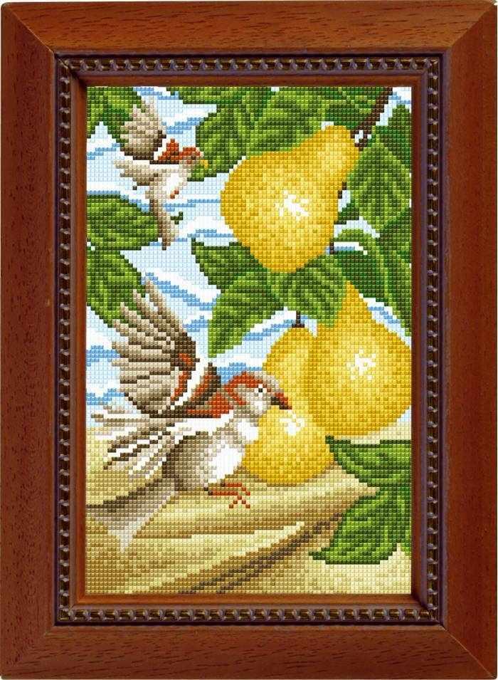 """Алмазная вышивка 0064 """"Птицы и груши"""""""