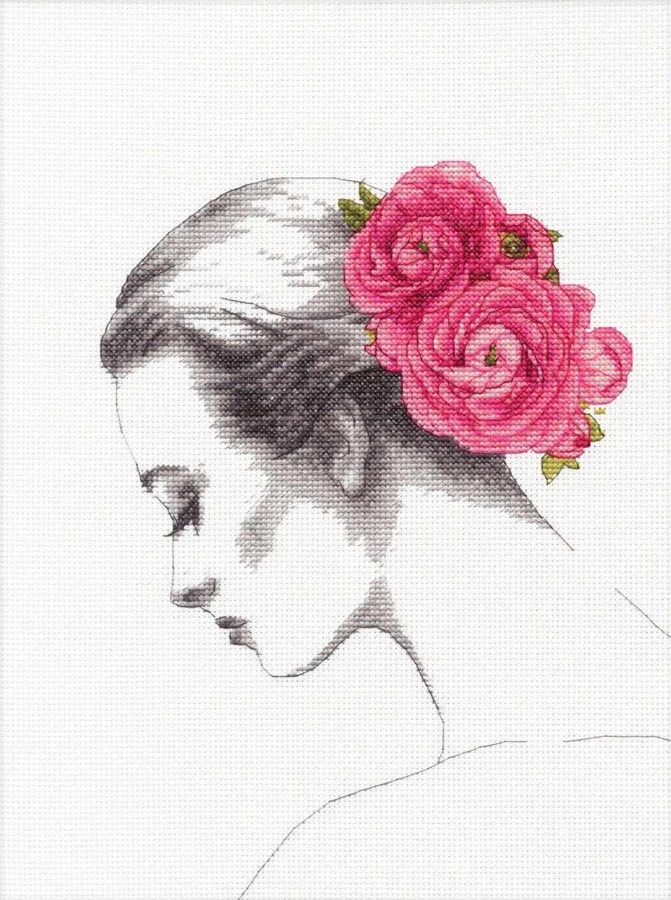 35379-DMS Портрет с цветком