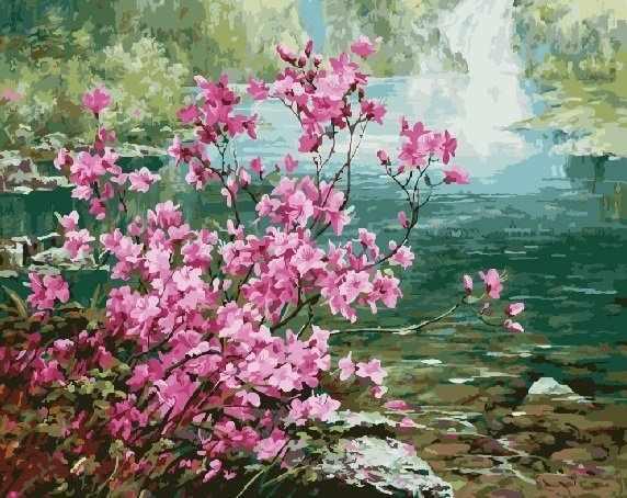 gx8473 «Цветущий куст у воды»