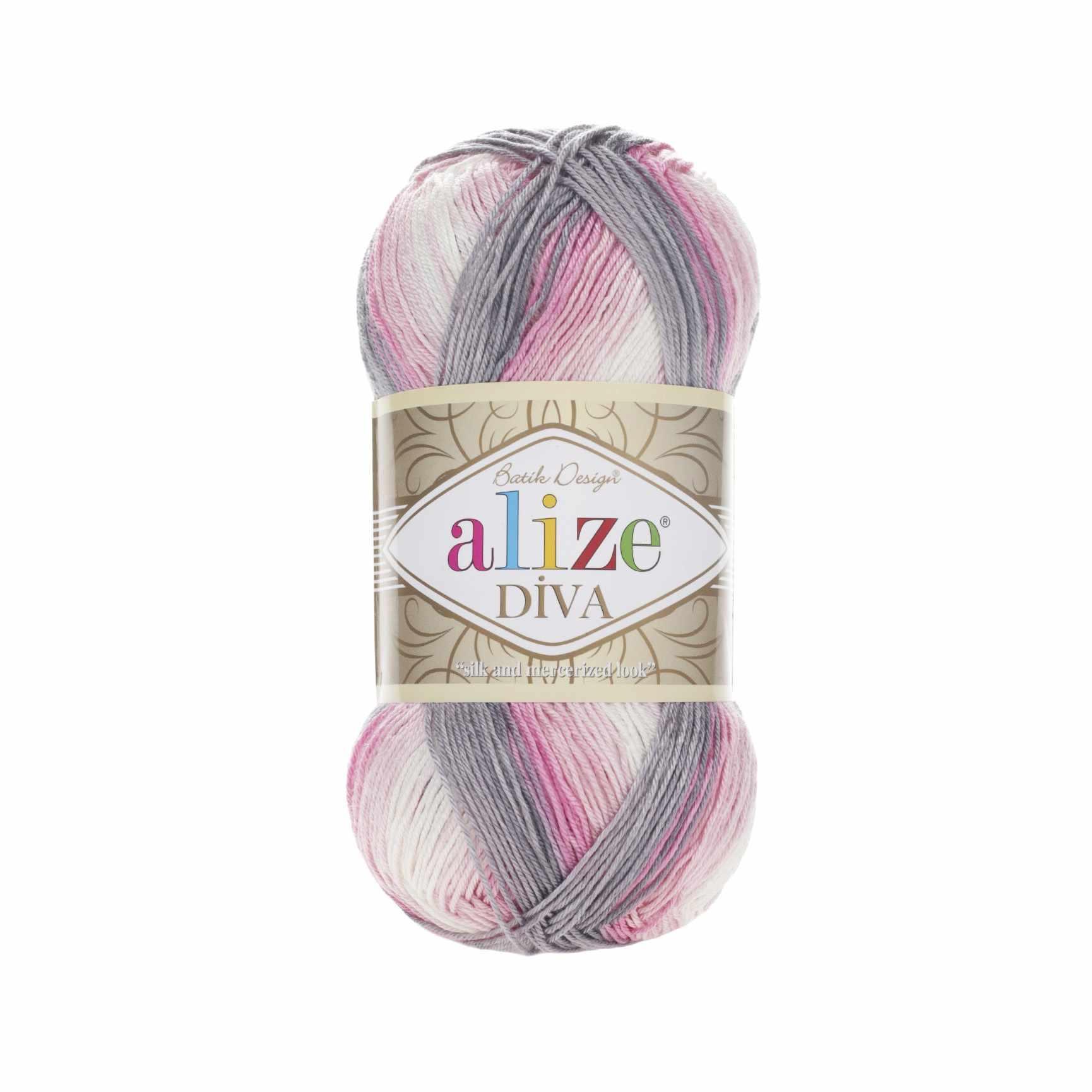 Пряжа Alize Diva Batik Цвет.3245 сер.роз.бел