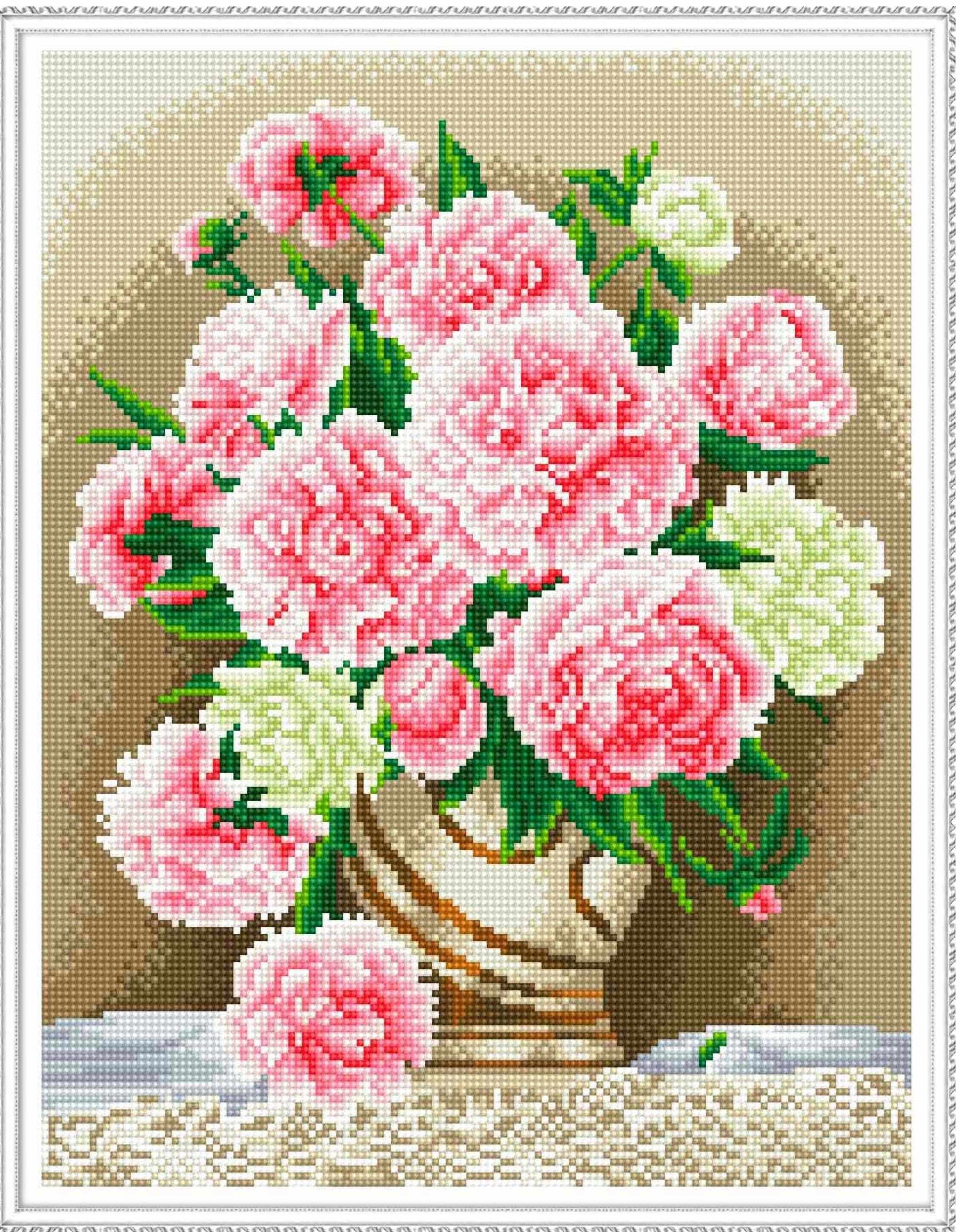 Алмазная вышивка KM0099 Бузин. Розовые пионы