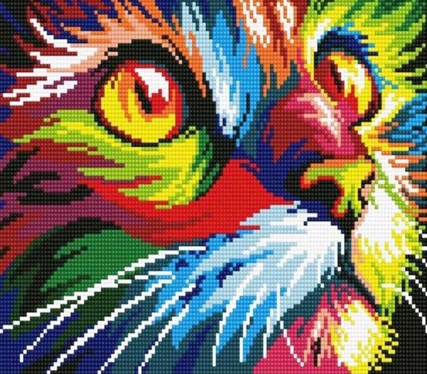 Алмазная вышивка le068 «Радужный кот»