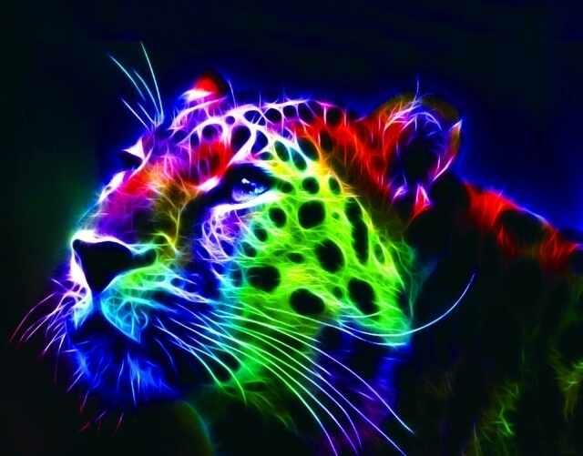 Алмазная вышивка lg015 «Неоновый леопард»