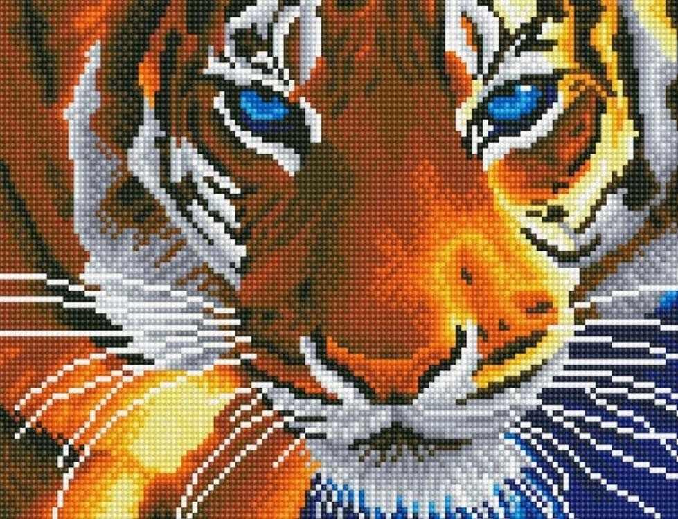 Алмазная вышивка le069 «Голубоглазый тигр»