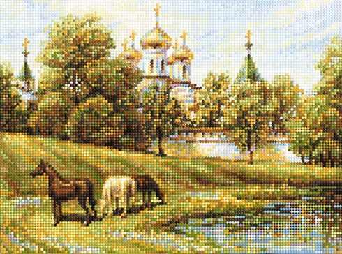 """Алмазная вышивка БСА3-126 """"Пастбище вблизи церкви"""""""