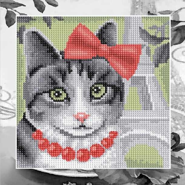"""Алмазная вышивка БСА25-051 """"Кошка в Париже"""""""