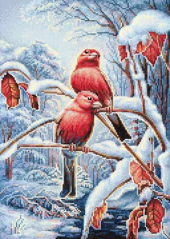 "Алмазная вышивка БСА2-073 ""Птицы в зимнем лесу"""
