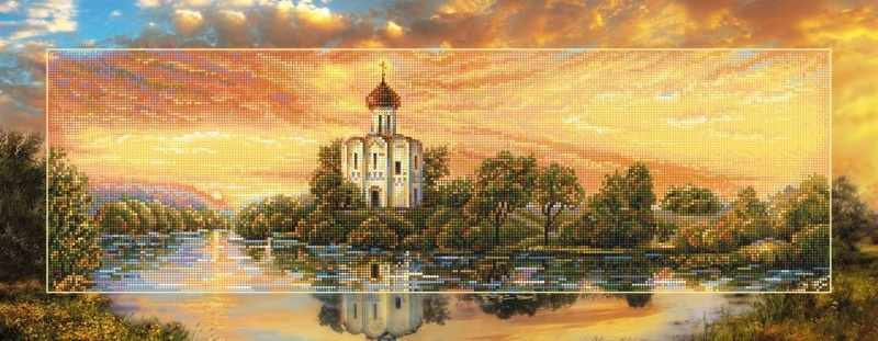"""Алмазная вышивка БС-028 """"Церковь Покрова на закате"""""""