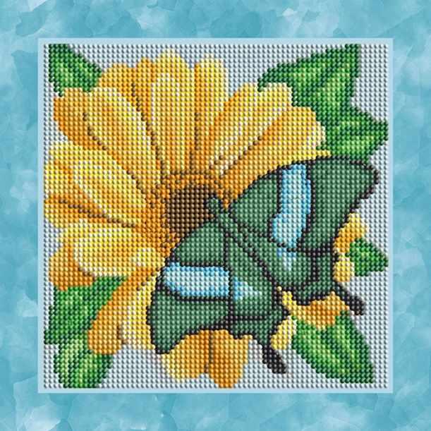 """Алмазная вышивка БСА25-045 """"Бабочка на жёлтом цветке"""""""