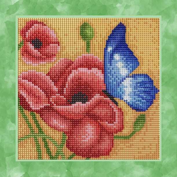 """Алмазная вышивка БСА25-049 """"Бабочка на маке"""""""