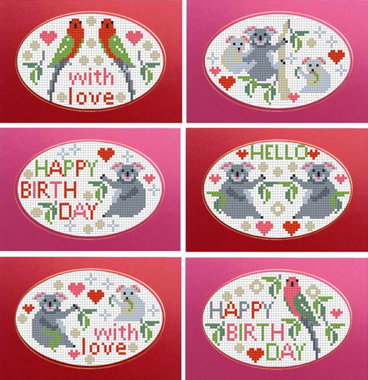 RR405 6 CARDS koalas and parrots