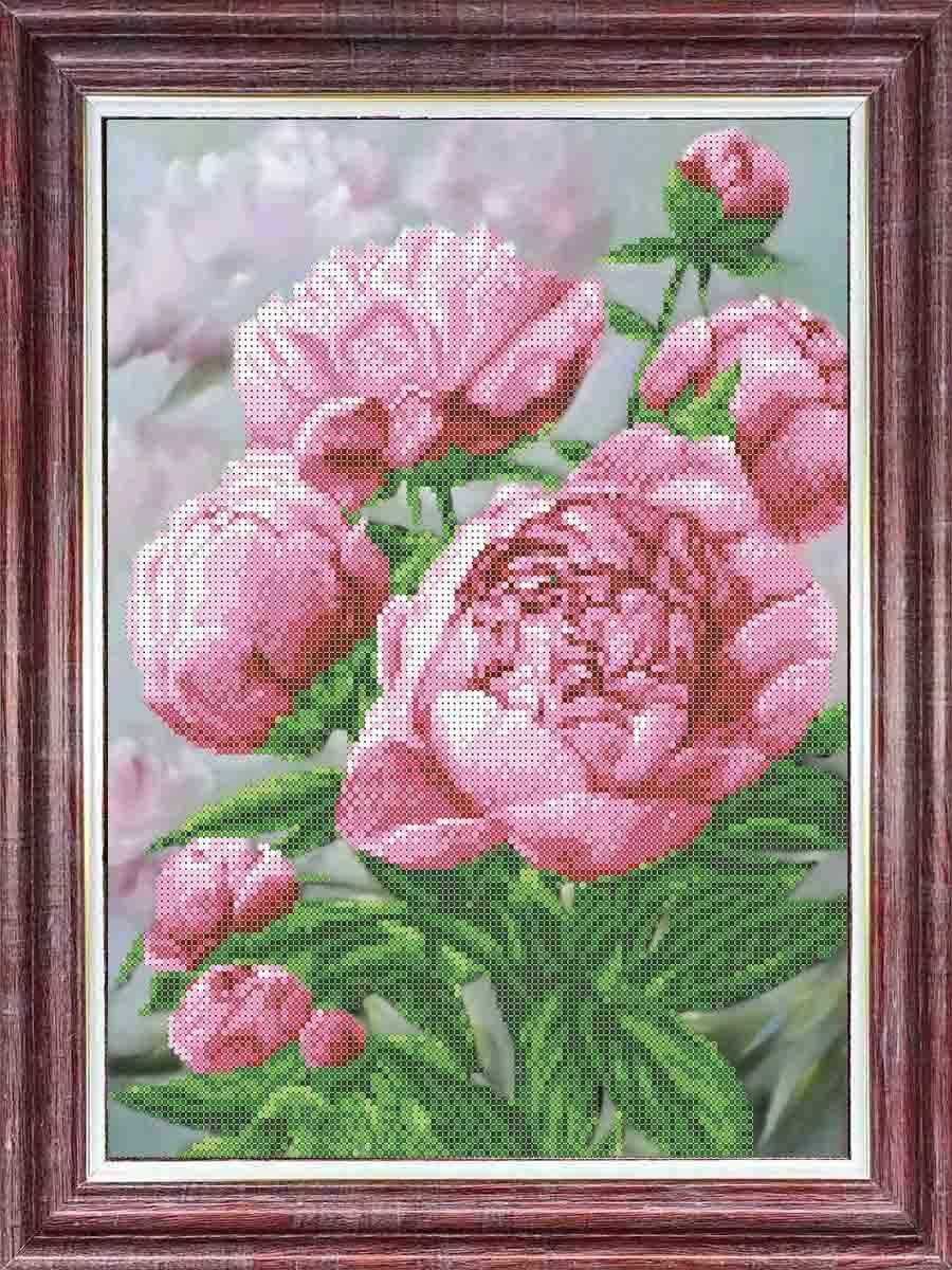 КБЦ 3048 Розовые пионы - схема (Каролинка)