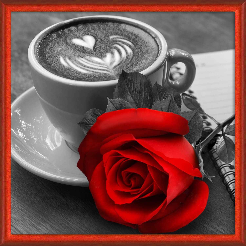 Алмазная вышивка Роза и кофе (АЖ-1773) - картина стразами