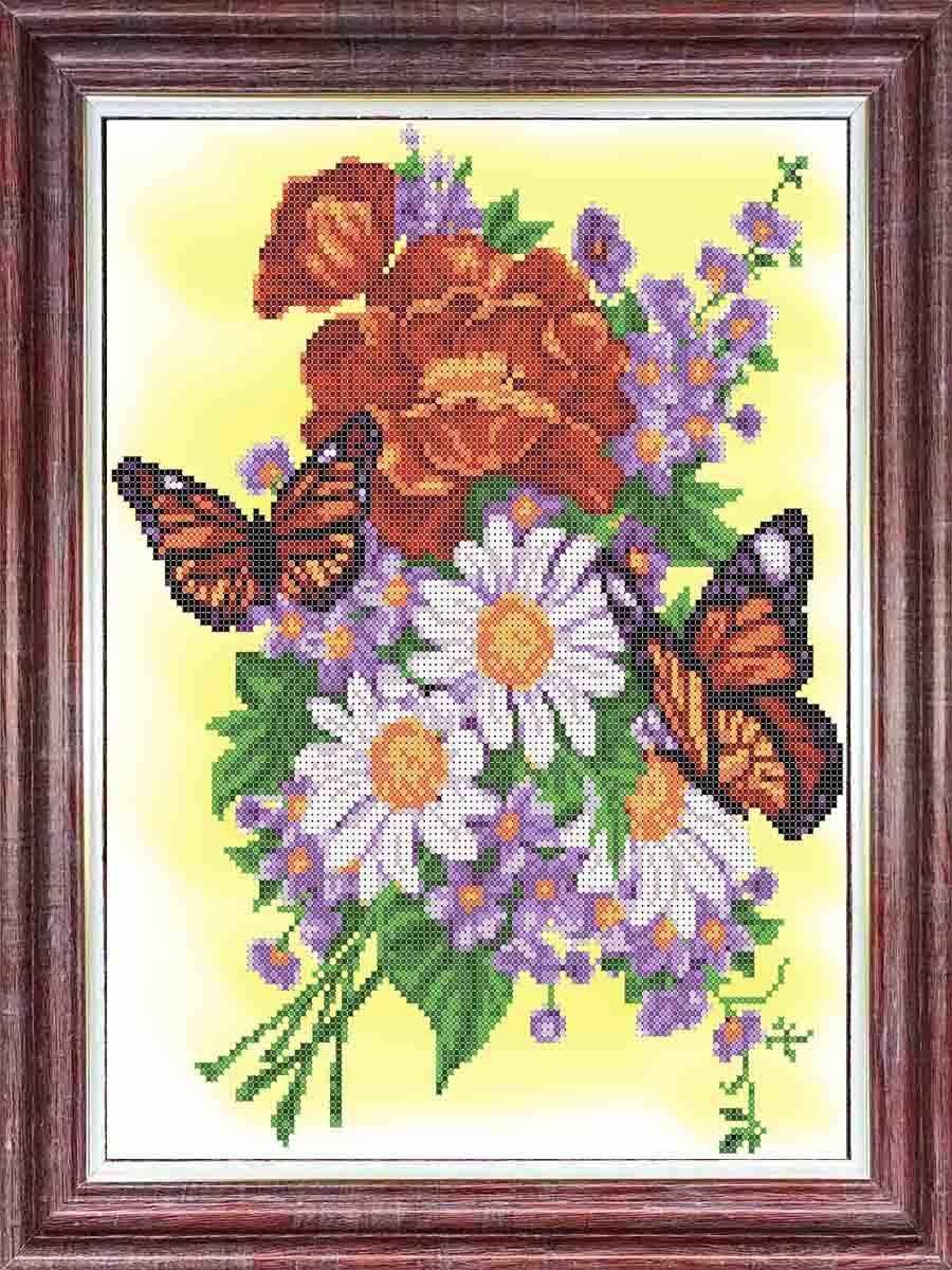 КБЦ 3049 Бабочки на летнем букете - схема (Каролинка)
