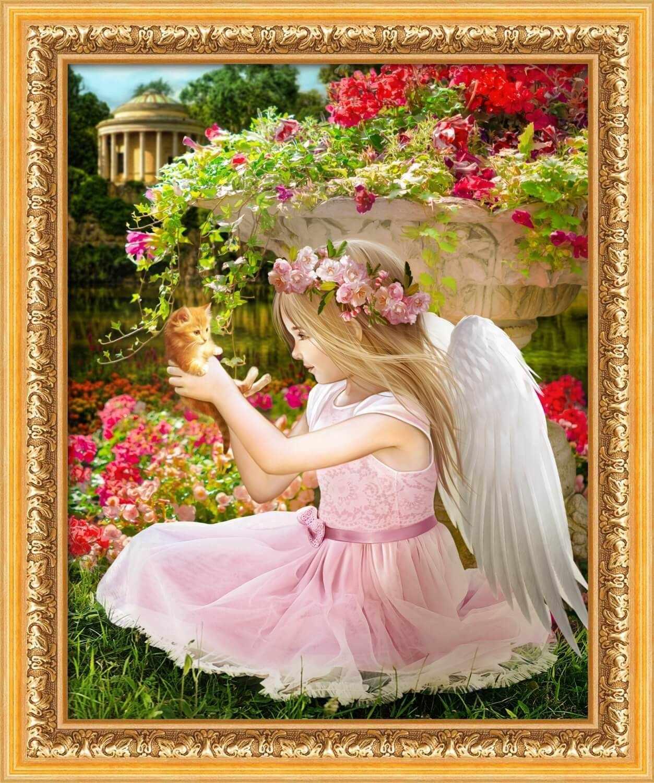 Алмазная вышивка Ангел в саду (АЖ-1781) - картина стразами