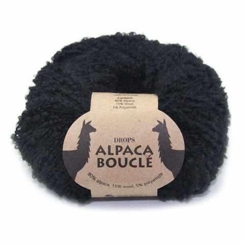 Пряжа DROPS Alpaca Boucle Цвет.8903 Black/черный