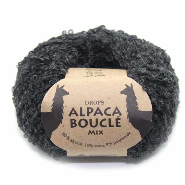 Пряжа DROPS Alpaca Boucle Цвет.0506m Dark grey/т.серый