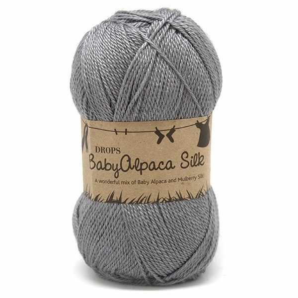 Пряжа DROPS Baby Alpaca Silk Цвет.8465 Medium grey/серый