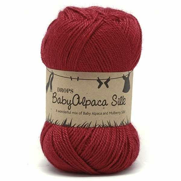 Пряжа DROPS Baby Alpaca Silk Цвет.3609 Red/красный