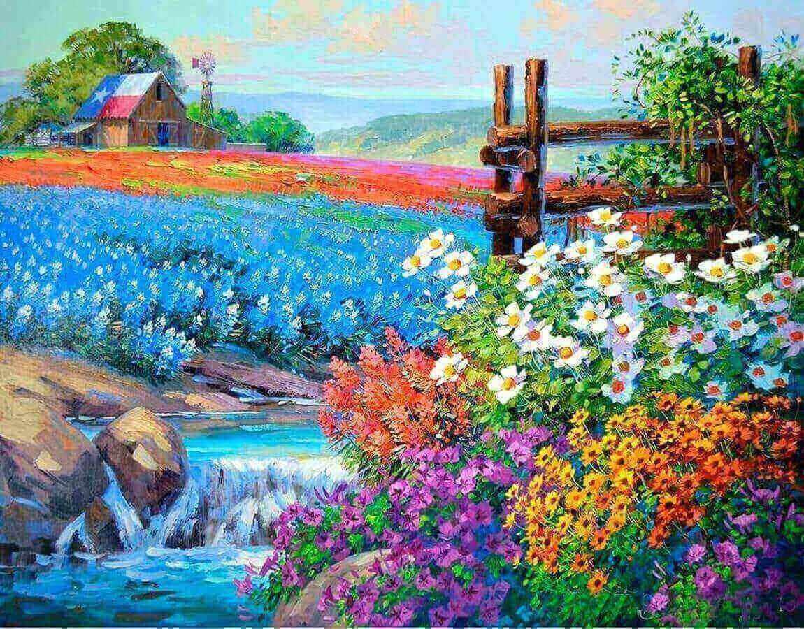 Алмазная вышивка lg172 «Цветочное поле»