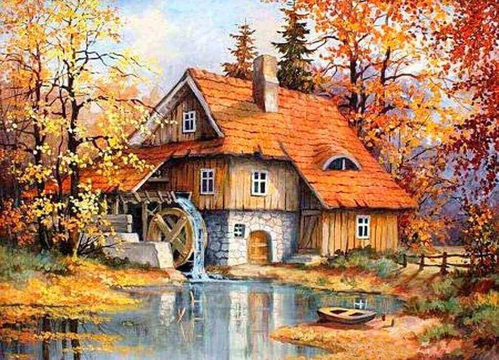 Алмазная вышивка le094 «Дом с водяной мельницей»
