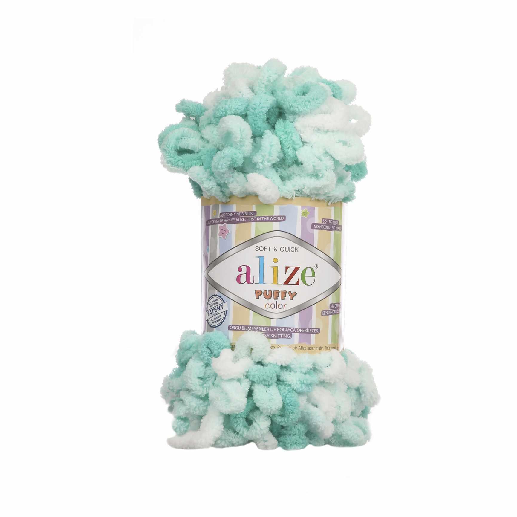 Пряжа Alize PUFFY COLOR Цвет.5920 Бело-бирюзовый