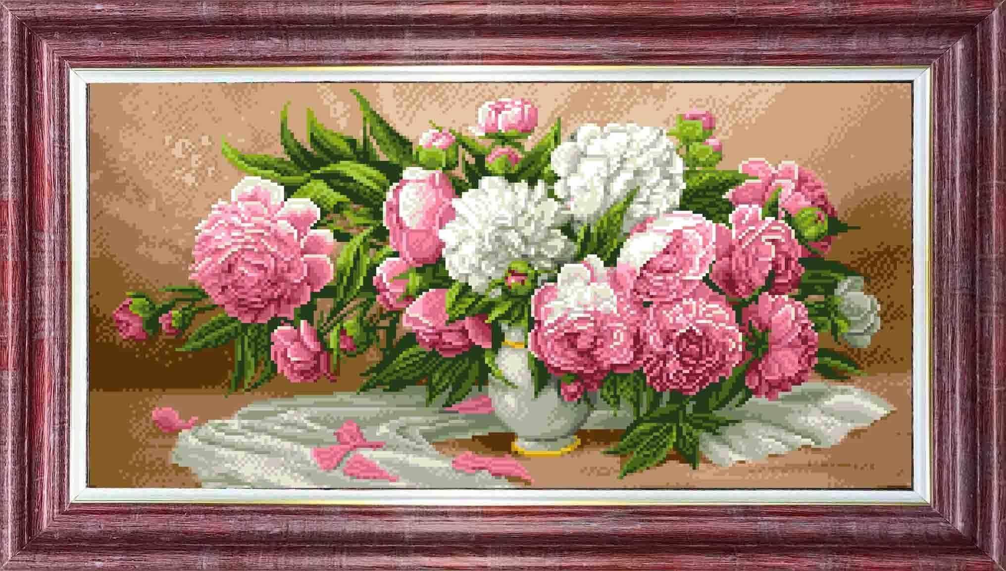 КТКН158 (р) Пионы в вазе - набор (Каролинка)