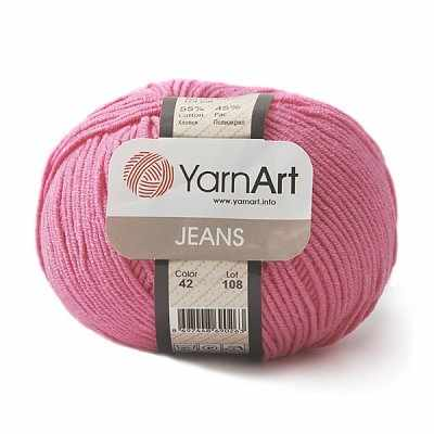Пряжа YarnArt Jeans Цвет.42 Малиновый