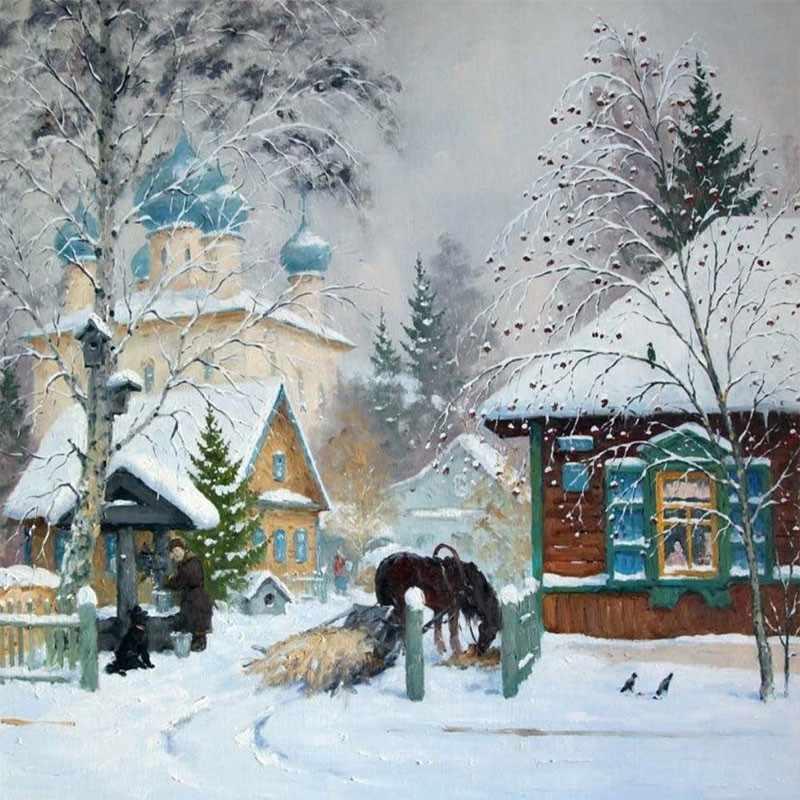 KH0379 Зима в деревне